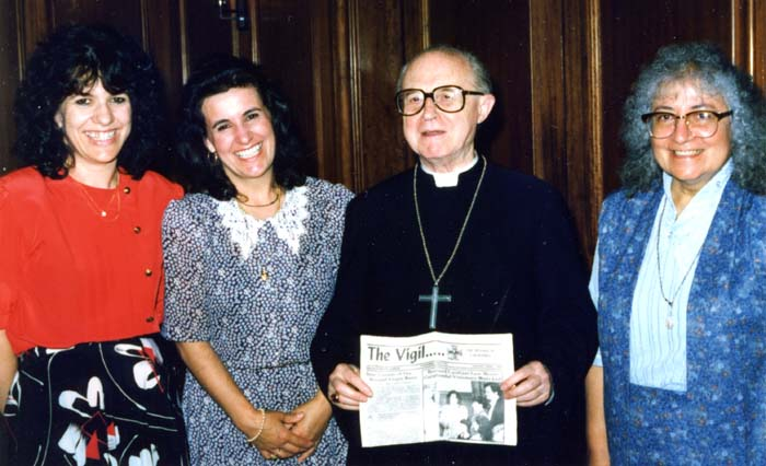 Garabandal Bishop del Val Gallo holding a copyof the Garabandal news